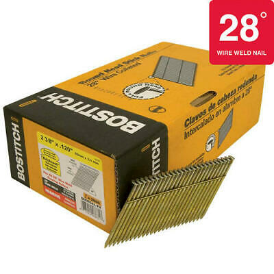 "Bostich 28­° Wire Weld 2-3/8""x .120"" Framing Nails, S8DRGAL-FH, Full Round Head"