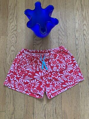 Mini Boden Girls Shorts Sz 12 Terry Towelling Shorts Red White Adjustable Waist