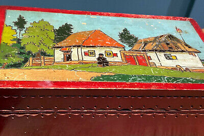 Old Possibly Antique Wooden Cigar or Cigarette Box Naive Figure  & Dwellings