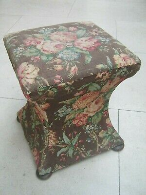 Vintage 1930's Chintz Floral Stool For Reupholstery