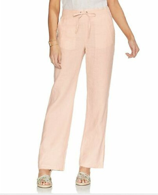 Vince Camuto Women's Pull-On Linen Wide-Leg Pants Coral Pink Size: Large