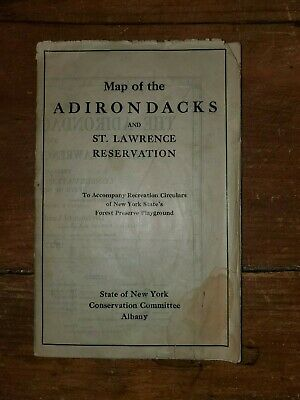Map Of The Adirondack Mountains & The St. Lawrence Reservation 1927