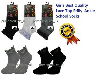 3 X Pairs Girls Cotton Ankle Trainer Socks Frilly Lace Top in Black White Grey