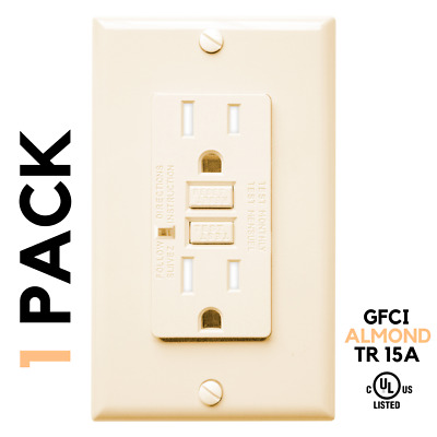 1 Pack, ALMOND, 15A AMP, GFCI GFI, Receptacle Outlet, TR Tamper Resistant, UL