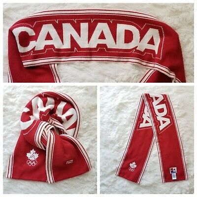 HBC Olympic Team Canada Winter Scarf Red with White Canada Spellout