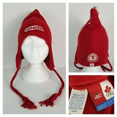 HBC Canadian Olympic Team Fleece Winter Hat Red White Braids Canada Spellout