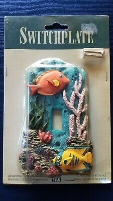 Vtg (1994) Figi Single Light Switch Plate Cover 3D Tropical Fish & Coral Reef!