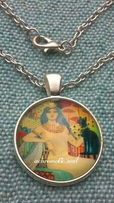 Egyptian Theme Cleopatra & Black Cat Glass Dome Pendant Silver Colour Necklace