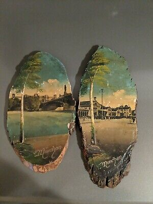 Pair of Vintage German Tree Slice Wood Wall Hanging Munchen Munich Germany