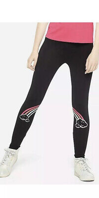 New! Justice Girls Graphic Leggings Size 14/16 Black With Rainbow Design