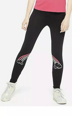 New! Justice Girls Graphic Leggings Size 12 Black With Rainbow Design