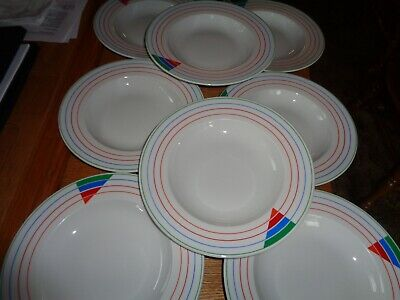 Set of 8 Vintage Royal Mosa Holland Rainbow Art Deco Rimmed Salad/ Soup Plates
