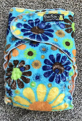 BubuBebe Sleepytime Overnight Fitted Cloth Diaper One Size Snap Flowers