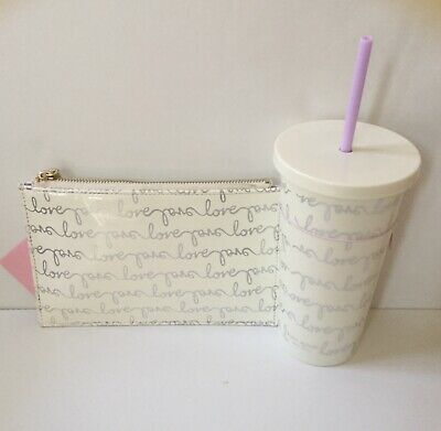 NWT Kate Spade Love Pencil Pouch Set and Love Insulated Tumbler in Sliver