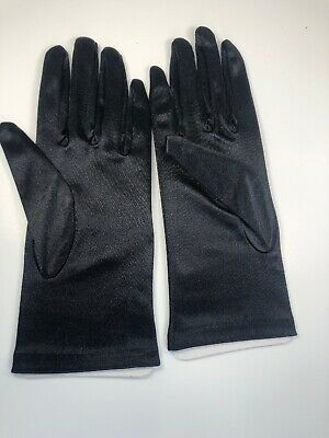 Black Satin Nylon Spandex Womens Gloves One Size New