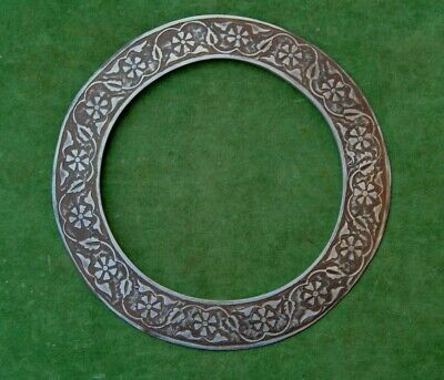 Vtg steel engraved indian sikh chakram quoit disc nihang akali warrior weapon