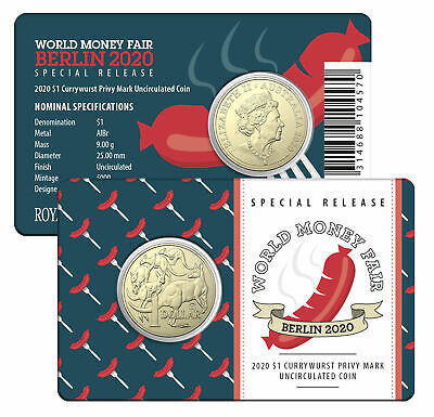2020 $1 'Currywurst' Privy Mark Coin - Berlin World Money Fair - Special Releas
