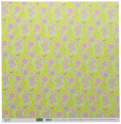 Artemio 10 Sheets for Scrapbooking, Collection Freedom, Pink Flowers