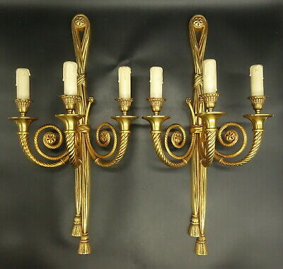 Imposing Pair Of Sconces, 3 Lights, Louis Xvi Style - Bronze - French Antique