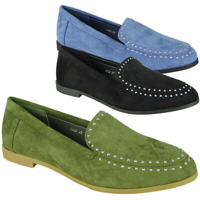Ladies Loafers Flats Faux Suede Studs Womens Slip On Work Office School Shoes