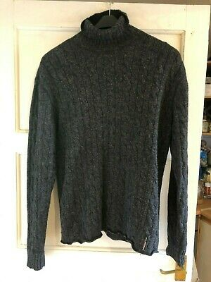 Ralph Lauren polo jeans co mens unisex charcoal grey wool cable polo neck size M