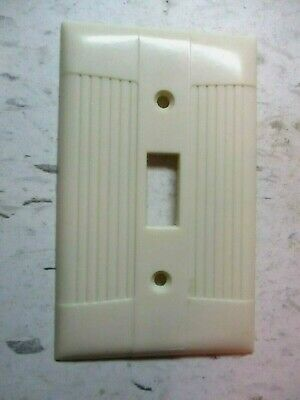 Eagle Switch Plate Wall Cover Classic Deco Tuxedo Ribbed Ivory Bakelite Vintage