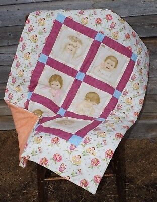 Handmade Victorian Baby Faces Baby Quilt Cotton Blanket Unique NEW