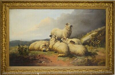 Fine Large Antique 19th Century Sheep In A Landscape Oil Painting MORRIS