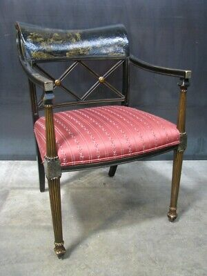 Interior Crafts Chinoiserie Regency Style Armchair With Antiqued Crackle Finish