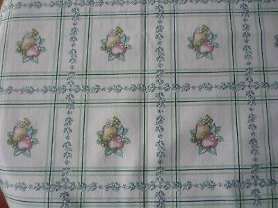 """Vtg. Multi-Color Kitchen Tablecloth(Apples & Pears) """" 40""""x40"""" Cotton Broadcloth"""