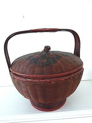 "Antique Chinese 8"" painted footed sewing basket with handle"
