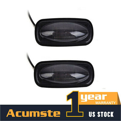 2xAmber 3LED Side Fender Marker Light Smoked lens Warning Turn Signal Waterproof