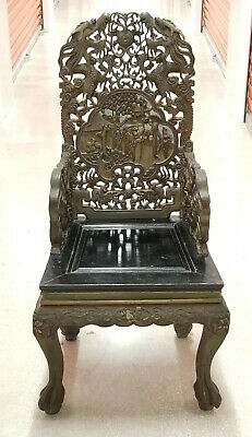 Antique Qing Chinese Hong Mu Carved Wood Garden Scene Dragon Motif Throne Chair