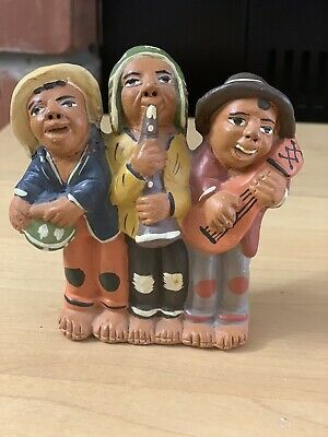Vintage Peruvian Folk Art Whistle Banjo Flute  3 Musicians Antique Figurines