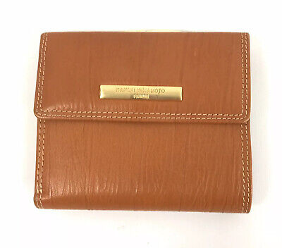 Vintage Kansai Yamamoto Femme Trifold Wallet with Coin Pocket Brown Leather