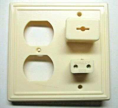 Mosley 2 Gang Combo Outlet Wall Cover Plate Jacks Radio TV Phone & Plugs Vintage