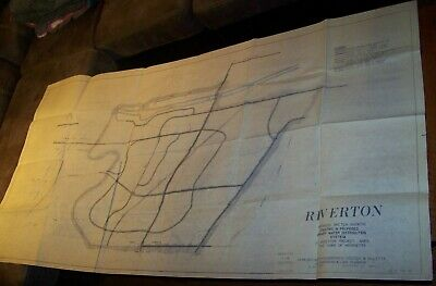 """1971 Large Vintage Henrietta Ny Riverton Water Line Town Sewer Map 36"""" X 69"""""""