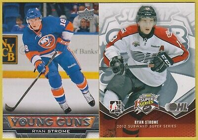 RYAN STROME 2013-14 UD YOUNG GUNS Rookie RC & 2012-13 ITG Super Series Insert