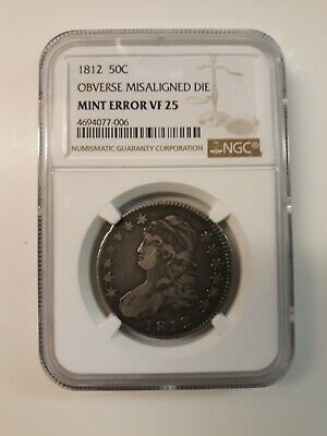 1812 Capped Bust Silver Half Dollar Mint Error NGC Graded VF25 Gorgeous Toning!!