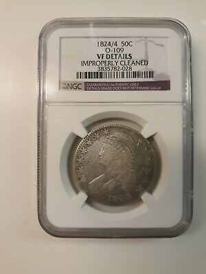 1824/4 Capped Bust Silver Half Dollar PCGS VF Details! O-109