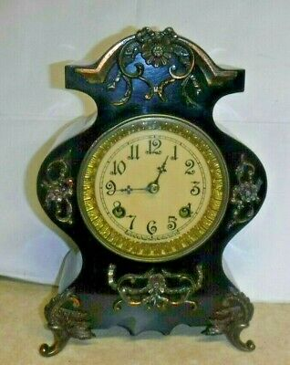 """Antique Fancy New Haven Tyndall"""" Ornate Enameled Mantel Chime Clock Working Iron"""