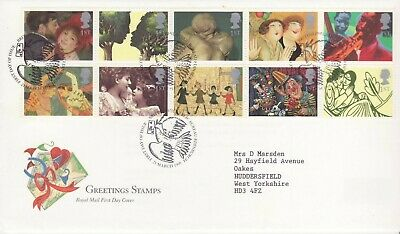 GB Stamps First Day Cover Greetings in Art, music,painting,love,kiss,clown 1995
