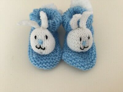 Hand Knitted EASTER BUNNY baby bootees 0 - 6 months approx ~ BLUE-OOAK