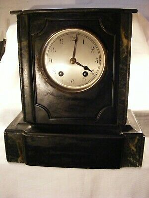 antique mantle clock for restoration/parts, marble case, silver? rim sold as is