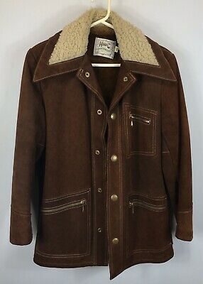 Vintage H Bar C Ranchwear Suede Leather Jacket With Fleece Collar - Size 38