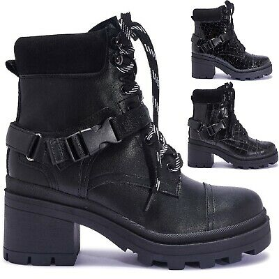 Ladies Womens Ankle Platform Chunky Block High Heel Chelsea Buckle Boots Shoes
