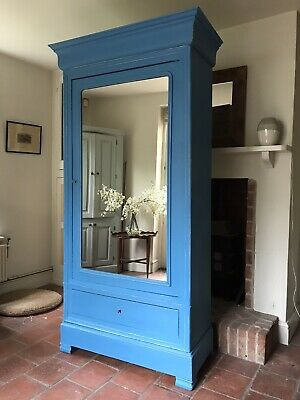 Antique French Single Armoire Wardrobe Painted Giverny Blue Children's