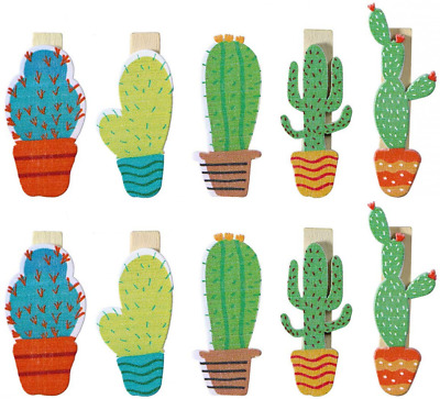 LUOEM Wooden Pegs Photo Clips Pins Note Memo Card Holder Cute Cactus Style - 10