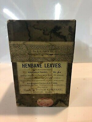 E.l. Patch Henbane Leaves Boston Box Antique Quack Medicine Apothecary Pharmacy