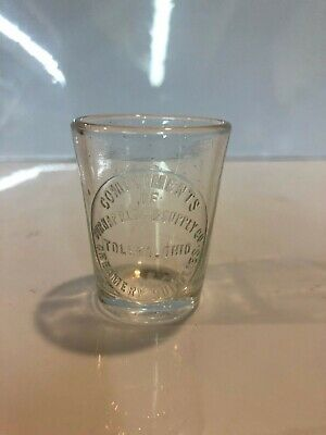 Burnap Creamery Supply Toledo Dose Glass Antique Medicine Apothecary Pharmacy